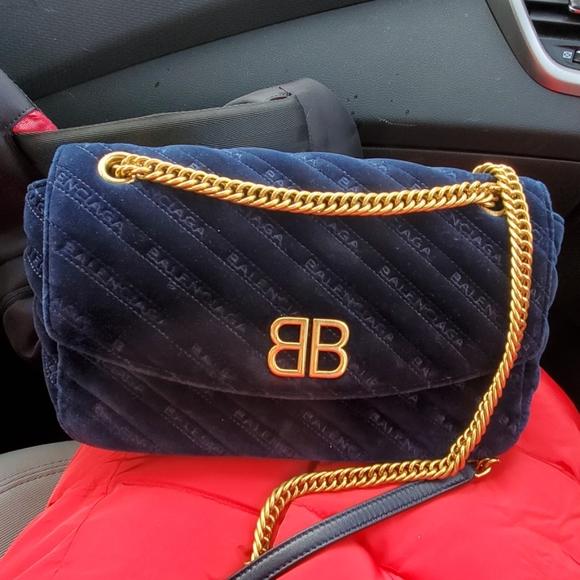 Balenciaga Handbags - Navy blue velvet BB round balenciaga